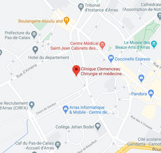 Plan d'accès de la Clinique Clemenceau à Arras