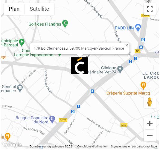 Plan d'accès de la Clinique Clemenceau à Lille